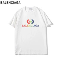Balenciaga Summer Fashion New Bust Colorful Leaf Letter Print Women Men Top T-Shirt White