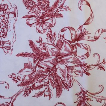 """Nicole Miller Red Toile Holly Winter Christmas Tree Poinsettia Tablecloth 60"""" x 84""""  New in Package"""