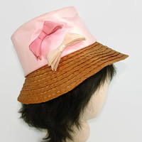 Vintage Pink Cloth Hat with Bows and Braided Straw Wide Brim