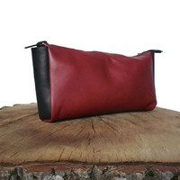 toiletry case, leather toiletry bag, shaving bag, leather pouch, red, black, toiletry kit, Leather Dopp Kit, cosmetic bag, unisex, make-up