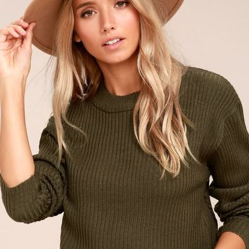 Cheap Monday Eminent Knit Olive Green Long Sleeve Crop Sweater