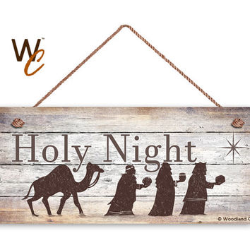 "Three Wise Men Sign, Holy Night Christmas Sign, 6""x14"" Sign, Rustic Holiday Decor, Christmas Gift, Holiday Wall Hanging, Made To Order"