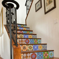 Staircase with Portuguese Tiles Patterns- Pack Nº1 - 12 Tile Stickers Designs - SKU:SCPTTN1