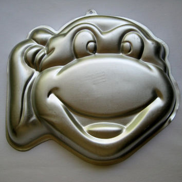 Vintage Teenage Mutant Ninja Turtle Cake Pan Wilton TMNT 1991 Gelatin Mold Head Baking Craft RARE