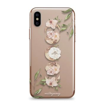 Floral Moon Phases - iPhone Clear Case