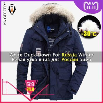 Trendy Winter Jacket Down Men Padded 4XL 2018 Thick Hood Brands Coats Parka 80% White Duck Jackets Fashion Light Warm Big Size Parkas AT_94_13