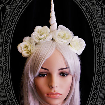 Unicorn Fascinator ( headdress, white, fantasy, burlesque, costume, fairy, roses, headpiece )