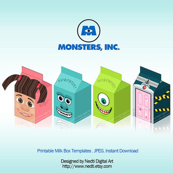 Printable Milk Box Template, Monsters Inc, Party Supplies, Instant Download, JPEG, A4 Paper