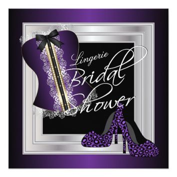 Glamorous Lingerie Bridal Shower | Purple 5.25x5.25 Square Paper Invitation Card