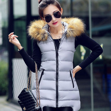 Women Winter Fashion Padded Down Vest with Fur Hat [9378739332]