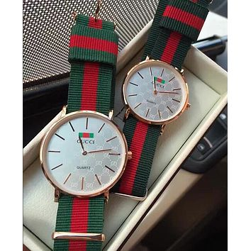 GUCCI Stylish Cute Red Green Stripe Weave Watch Lovers Wrist Watch White I-YY-ZT