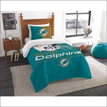 """Dolphins OFFICIAL National Football League, Bedding, """"""""Draft"""""""" Printed Twin Comforter (64""""""""x 86"""""""") & 1 Sham (24""""""""x 30"""""""") Set  by The Northwest Company"""