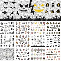 Large Halloween Nail Art Water Transfer Nail Stickers Decal Tips Evil Faces Bats Skull Spider Zombie Horrified Party