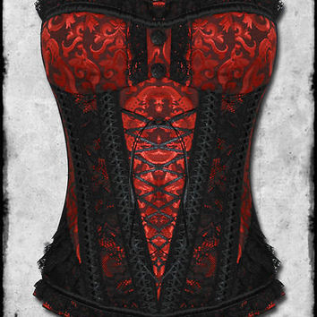 JAWBREAKER RED BLACK BROCADE DAMASK LACE GOTH STEAMPUNK VTG VICTORIAN CORSET TOP
