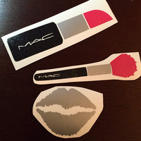 "Makeup Decal Set 4"" Lipstick + 4"" Brush + 2"" Lips"