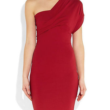 Red Party Viscose Jersey Mini Dress