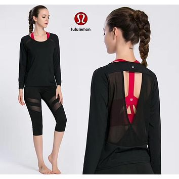 """lululemon"" Fashion Gym Yoga Sports Solid Color Long Sleeve Shirt Top Tee"