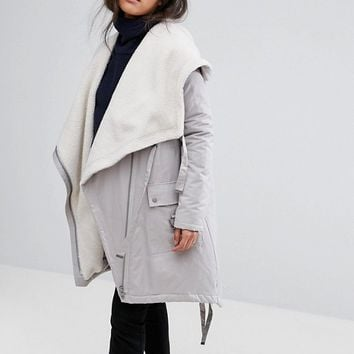 ASOS MATERNITY Waterfall Parka with Fleece Lining at asos.com