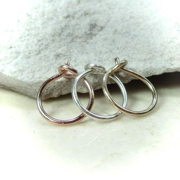 Nose Ring Set of 3 Plain with Hook Gold/Silver/Pink Gold