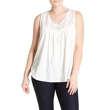 Lucky Brand Women's Eyelet Trim Tank Top (Plus Size)