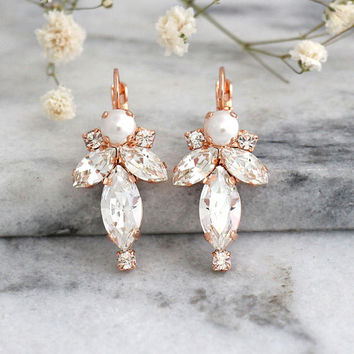 Bridal Earrings, Bridal Crystal Earrings, Pearl Earrings, Swarovski Earrings, Bridal Drop Earrings, Bridesmaid Earrings, Bridal Droplets.
