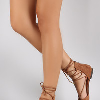 Qupid Corset Lace Up Pointy Toe Dorsay Flat