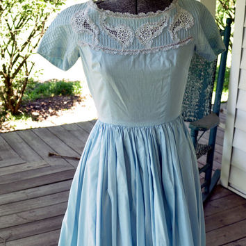 1940s Vintage Casual Dress/1940s Vintage Blue Dress Tailored Junior Size XXS