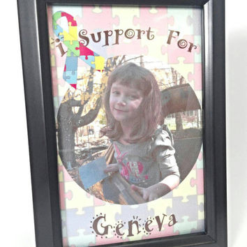 Autism awareness, I support for Child's name, personalized real photo frame, Autism gifts, autism mom, autism puzzle piece image art.