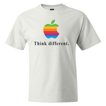 Think Different Colorful Rainbow Vintage Apple OSX Macintosh Mac Logo VINYL High Quality T-shirt Computer Geek Cool Tee
