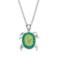 Crystal Silver-Plated Turtle Pendant Necklace (Green)