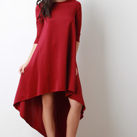 Quarter Sleeves Flare High Low Dress