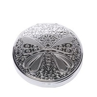 Silver Dragonfly Large Round 7 Day Pill Box