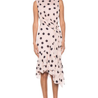 Nina Ricci | Polka Dot Ruffle Hem Dress in Terracota Bleu www.FORWARDbyelysewalker.com