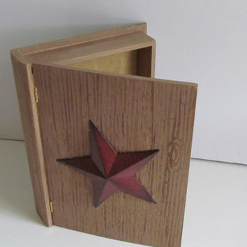 Rustic Country Star Wooden Box Family Holiday Photo Box Desk Organizer Primitive Star