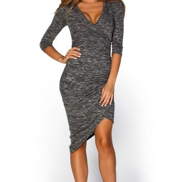 Maris Grey Marled Knit 34 Sleeve Wrap Dress with Zipper