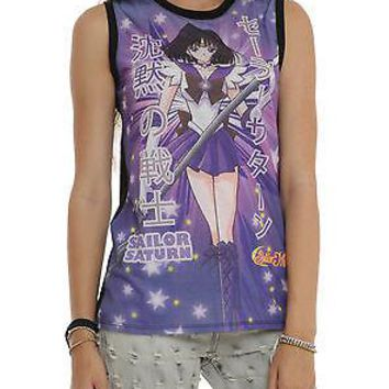 Licensed cool NEW SAILOR MOON SAILOR SATURN Purple Girls Sublimation Tank Top Shirt JRS XS-S
