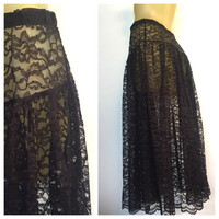 Black Lace Skirt, Vintage Skirt, See Through Lace Midi Skirt, Calf Length Skirt, Goth 1980s Madonna Desperately Seeking Susan 80s Lace Skirt