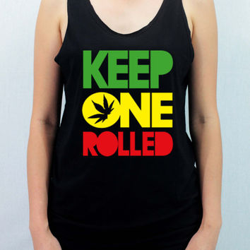 KEEP ONE ROLLED Smoking - Unisex Softly/Lightly Shirt Tank Top Tank with traditional silk screen