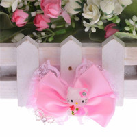 pink and red lace bowknot hello kitty hairclip baby headwear Fabric Flowers Crystal Accessories children Birthday Party gift