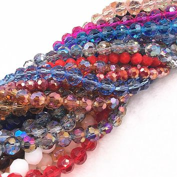 4/6/8/10mm 32 Faceted Czech Glass Transparent Faceted Crystal Ball Beads Spacer Beads for Jewellery Making DIY Bracelet Necklace