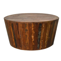 "Reclaimed Barrel 42"" Round Tapered Sides Rustic Coffee Table"