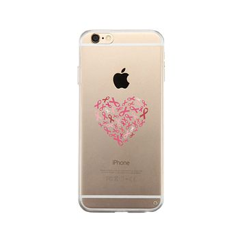Pink Ribbon Heart Clear Phone Case