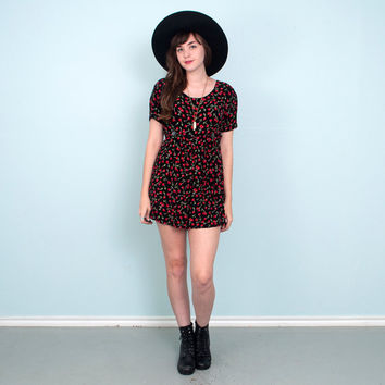 90's Cherry Romper / Black Red Grunge Hipster / Small Medium
