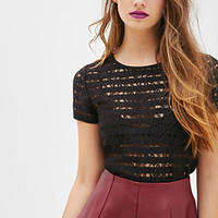 FOREVER 21 Shadow Stripe Lace Top Black