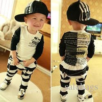 Korean Children's Clothing Summer Boys Suits Striped Suit T Shirt Harem Pants Foreign Trade Boys Clothing Sets White VG0083 salebags