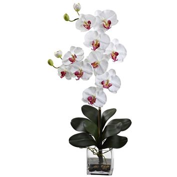 Silk Flowers -Double Giant White Phalaenopsis With Vase Artificial Plant