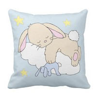 Baby Birth Stats Bunny Cloud Star Woodland Nursery Throw Pillow