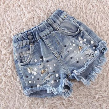 Hot Shorts chifuna 2018 New Girls Summer  Pearl Hole  Jeans Children Clothing Kids Cowboy Clothes Girls Denim AT_43_3