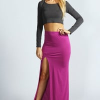Soraya Thigh High Split Jersey Maxi Skirt