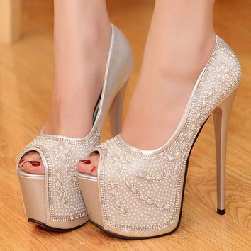 HOT  New Fashion Platform Pumps Rhinestone Wedding Shoes High Heel Gorgeous Crystal Wedding Ceremony Pumps Party Prom Shoes